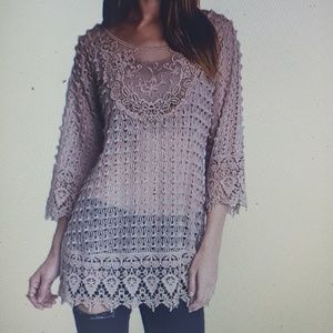 Umgee Lace Tunic Top Mocha Small New